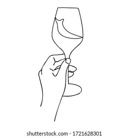 Continuous line drawing of hand that holding wine. This illustration is made in minimalism style. Perfect as a wall art decoration.