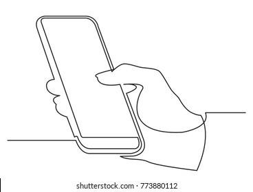 continuous line drawing of hand using modern mobile phone
