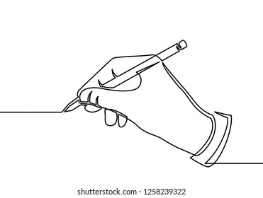 continuous line drawing of hand drawing a line . vector illustration for banner, poster, web, template, business card. Black thin line image of hands writing icon