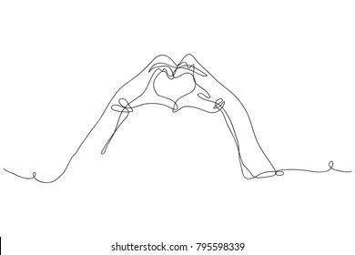 continuous line drawing, hand-made heart shape. The day of love