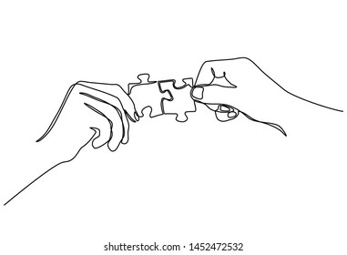 Continuous line drawing of hands Combining Two Puzzle Pieces isolated on white background.