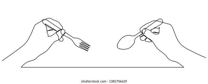 continuous line drawing of Hands holding a spoon and fork. Isolated against a white background. hand holding a spoon in one line. vector illustration isolated on white background