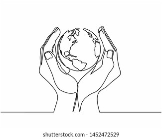 Continuous line drawing of hands holding Earth globe. Vector illustration isolated on white background