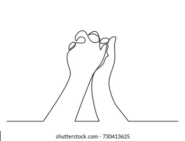 continuous line drawing hands holding together stock vector royalty