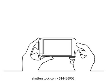 continuous line drawing of hands making photo on smartphone