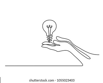 Continuous line drawing. Hands palms together with light bulb. Vector illustration