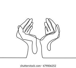 Continuous line drawing. Hands palms together. Vector illustration
