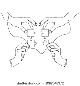 continuous line drawing of hands solving jigsaw puzzle Concept vector Partnership Coworking illustration