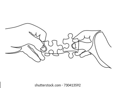 continuous line drawing of hands solving jigsaw puzzle - Shutterstock ID 730413592