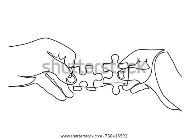 Verbazingwekkend continue lijn tekening van handen oplossen stockvector NU-72