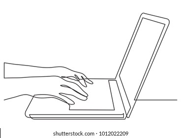 continuous line drawing of hands typing on laptop computer