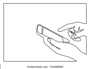 continuous line drawing of hands using smartphone