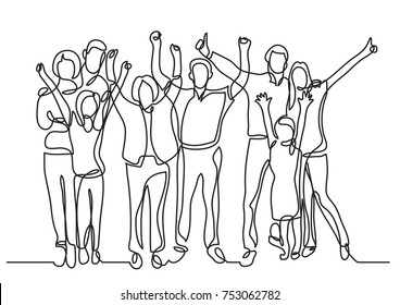 continuous line drawing of happy big family cheering