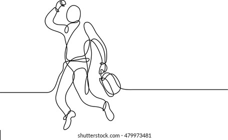 continuous line drawing of happy businessman with case