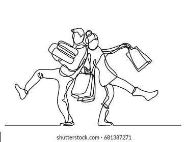 continuous line drawing of happy couple with holiday gifts