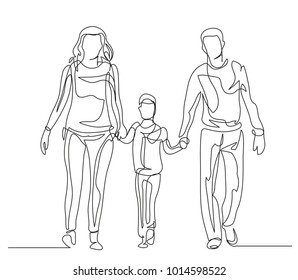 Continuous line drawing. Happy family mom, dad and baby. Vector illustration