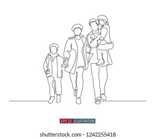 Continuous line drawing of happy family walking. Template for your design works. Vector illustration.