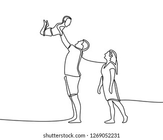 Continuous line drawing of happy family father, mother and one child playing. vector