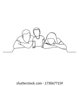 Continuous line drawing of happy family dad, mom, and child. Single line art concept of small family. Vector illustration