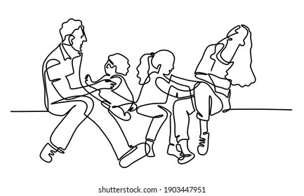 Continuous line drawing of happy family. Father, mother, daughter, and son sitting together. Vector illustration.