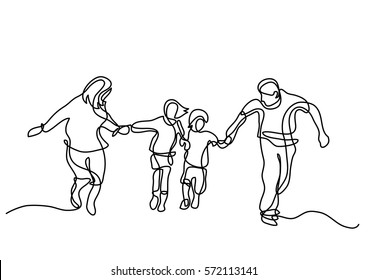 continuous line drawing of happy family running