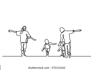 continuous line drawing of happy family having fun
