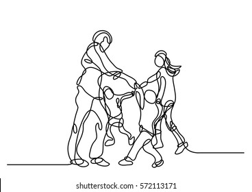 continuous line drawing of happy family cheering