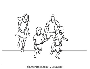 continuous line drawing of happy family having fun together