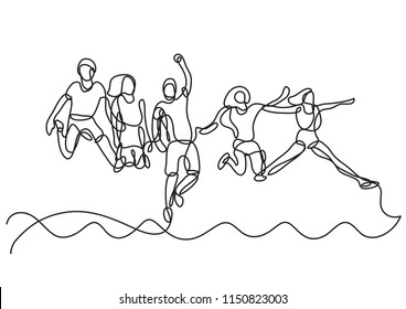 continuous line drawing of happy group of students jumping over sea