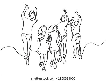 continuous line drawing of happy jumping group of young kids