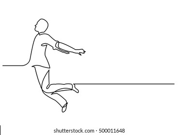 continuous line drawing of happy jumping man