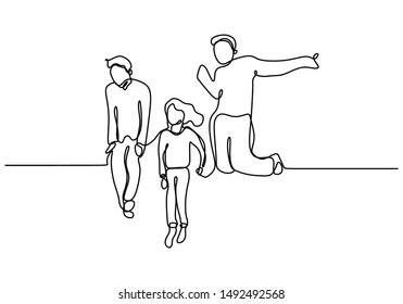 Continuous line drawing happy kids jump minimalist design one hand drawn isolated on white background