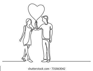 continuous line drawing of happy lovers with heart balloon