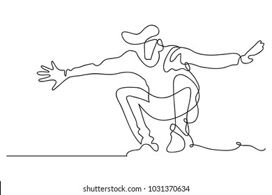continuous line drawing of a happy men jumping happy vector illustration