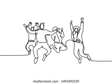 Continuous line drawing of happy people jump happy moment young male and female isolated on white background