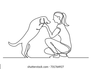 continuous line drawing of happy pet lover with dog