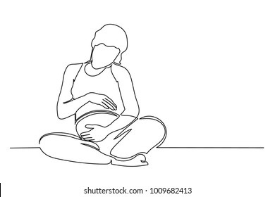 Continuous line drawing. Happy pregnant young woman in anticipation of baby sitting. Hands are stacked on the abdomen. Drawing from the hands of a black thin line on a white background.