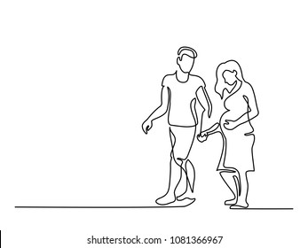 Continuous line drawing. Happy pregnant woman walking with her husband, silhouette picture. Vector illustration