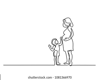Continuous line drawing. Happy pregnant woman with her small son, silhouette picture. Vector illustration