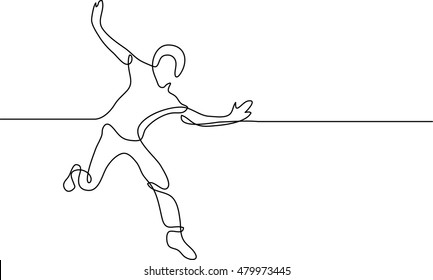 continuous line drawing of happy running man