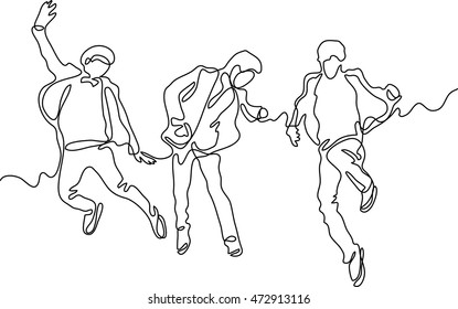 continuous line drawing of happy successful team