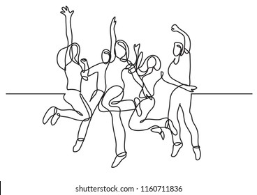 continuous line drawing of happy teenagers jumping