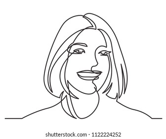 continuous line drawing of happy woman portrait on white background