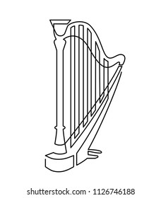 Continuous line drawing of Harp linear icon. Thin line vector illustration musical instrument. Contour symbol. isolated outline drawing