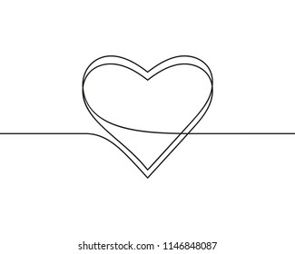 Continuous line drawing of heart, Black and white vector minimalist illustration of love concept made of one line