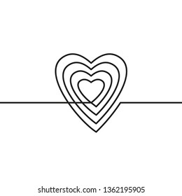 Continuous line drawing of heart, Black and white vector minimalist illustration of love concept