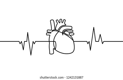 Continuous line drawing of heart with heartbeat on Black and white background.
