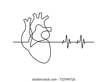 Continuous line drawing of heart with heartbeat on white background. Vector illustration