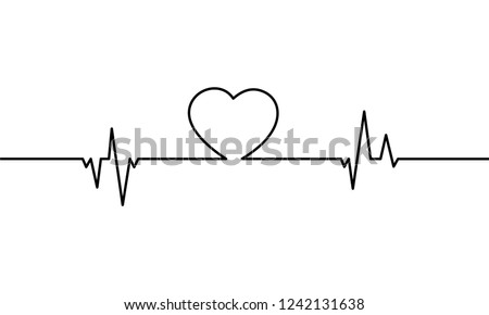 Continuous Line Drawing Heart Heartbeat On Stock Vector Royalty