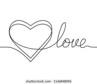 Continuous line drawing of heart and word LOVE, Black and white vector minimalist illustration of love concept made of one line